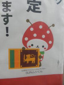 """山武市のゆるキャラ""""さんむし""""トレードマークは特産品のイチゴ"""